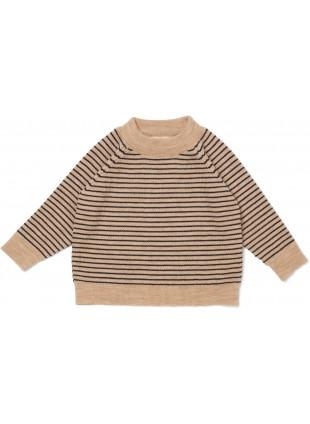 Konges Sløjd Langarmshirt Meo Merino White Cream - Navy Stripe
