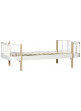 Oliver Furniture Einzelbett Wood Original 90x200 cm Weiß / Eiche