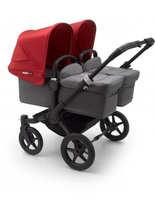 Bugaboo Donkey 3 Twin Kinderwagen Set Styled by you Schwarz - Grau Melange