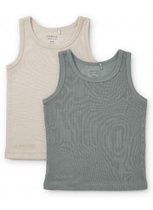 Liewood Unterhemden Set Faris Blue Fog Sandy Mix