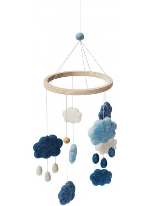 Sebra Filz-Mobile Wolken Denim Blue