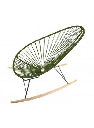 Boqa Acapulco Chair Wood Rocker Design-Schaukelstuhl Schwarz/Olivgrün - Kleine Fabriek