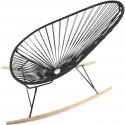 Boqa Acapulco Chair Wood Rocker Design-Schaukelstuhl Schwarz/Schwarz - Kleine Fabriek