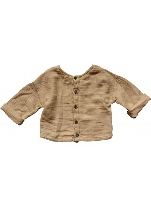 The Simple Folk Baby-Shirt Musselin Button Back Camel