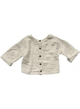 The Simple Folk Baby-Shirt Musselin Button Back Ecru