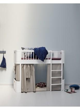 Oliver Furniture Halbhohes Hochbett Wood Mini+ mit Bett-Vorhang Natur - Kleine Fabriek