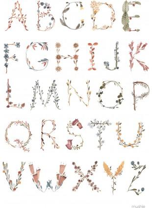 Mushie Alphabet Poster Floral Medium kaufen - Kleine Fabriek