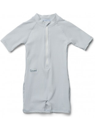 UV-Schwimmanzug Max Seersucker Stripe Sea Blue - White von Liewood kaufen - Kleine Fabriek