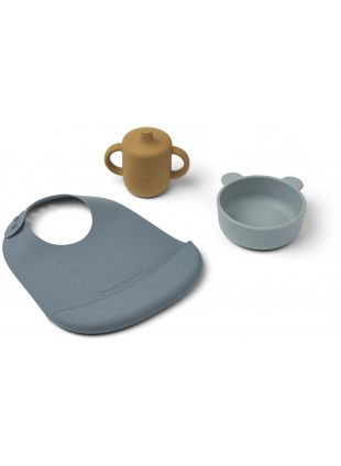 Liewood Silikon Esstischset Connor Mr Bear Blue Multi Mix kaufen - Kleine Fabriek