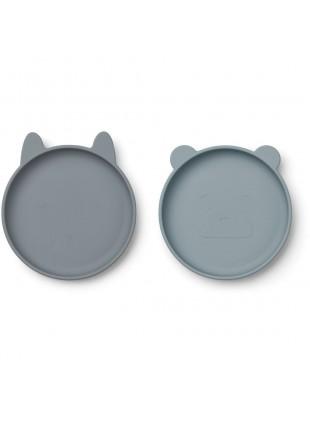Silikon-Teller Set Blau Mix von Liewood kaufen - Kleine Fabriek