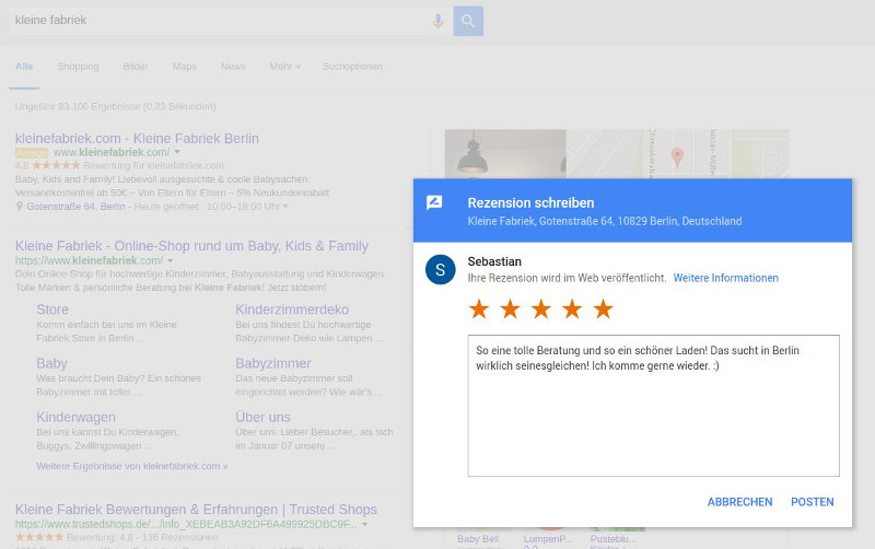 Screenshot Shopbewertung Google Kleine Fabriek