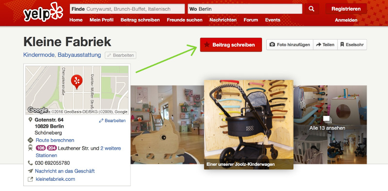 Screenshot Shopbewertung Yelp Kleine Fabriek